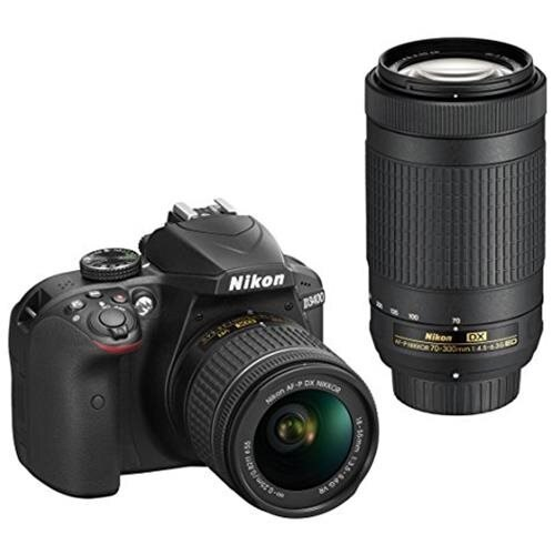 "Nikon D3400 24.2 Megapixel Digital SLR Camera with Lens - 18 mm - 55 mm (Lens 1), 70 mm - 300 mm (Lens 2) - Black - 3"" LCD - 16:9 - 3.1x/4.3x Optical Zoom - Optical (IS) - TTL - 6000 x 4000 Image - 1920 x 1080 Video - HDMI - HD Movie Mode - Wireless LAN 0"