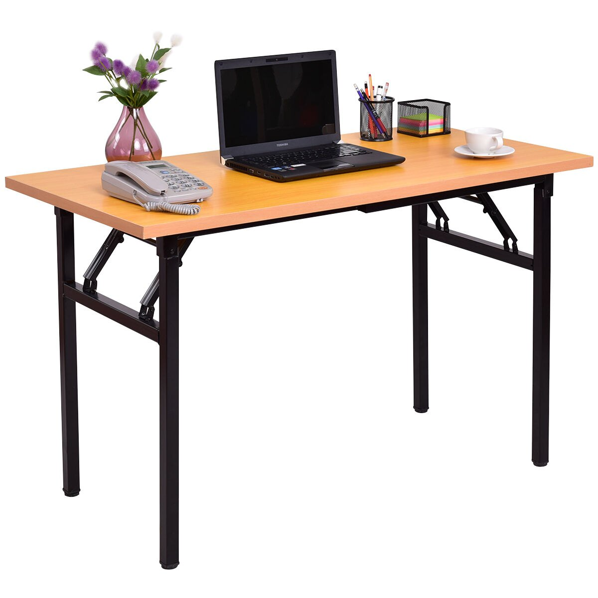 Costway Folding Computer Desk Pc Laptop Table Writing Workstation Home Office Furniture 0