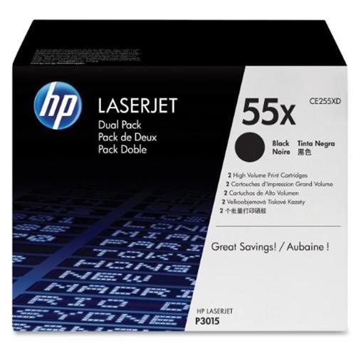 HP 55X (CE255XD) 2-pack High Yield Black Original LaserJet Toner Cartridges - Laser - 12500 Pages 1