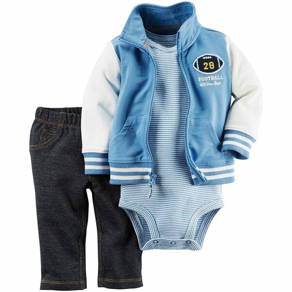 Carter's Carter s 美國童裝 短袖包屁衣 長褲 外套 套裝 藍色棒球 三件組 3M 6M 9M 12M 18M 24M