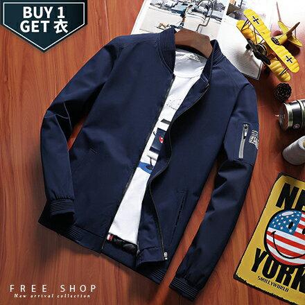 Free Shop:FreeShop送T恤休閒素面手臂拉鍊MA-1棒球飛行夾克外套有大尺碼黑色深藍色軍綠色【QTJK783】