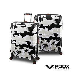 V-ROOX AXIS 21吋 原創設計可擴充行李箱 硬殼防爆雙層拉鏈旅行箱-迷彩黑白色