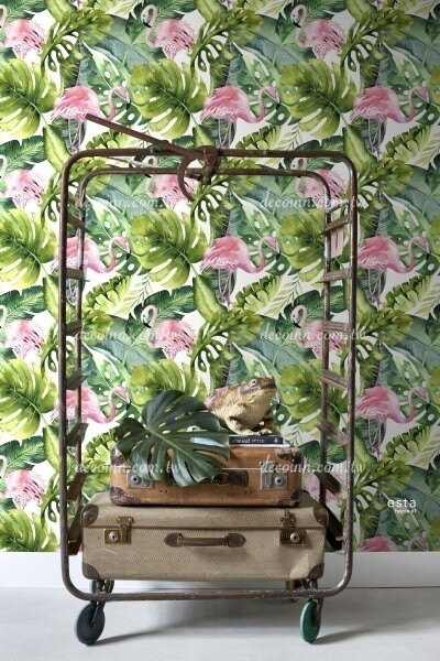F129-158895—荷蘭期貨壁紙 綠意自然 熱帶植物 火鶴 花朵 繽紛活力