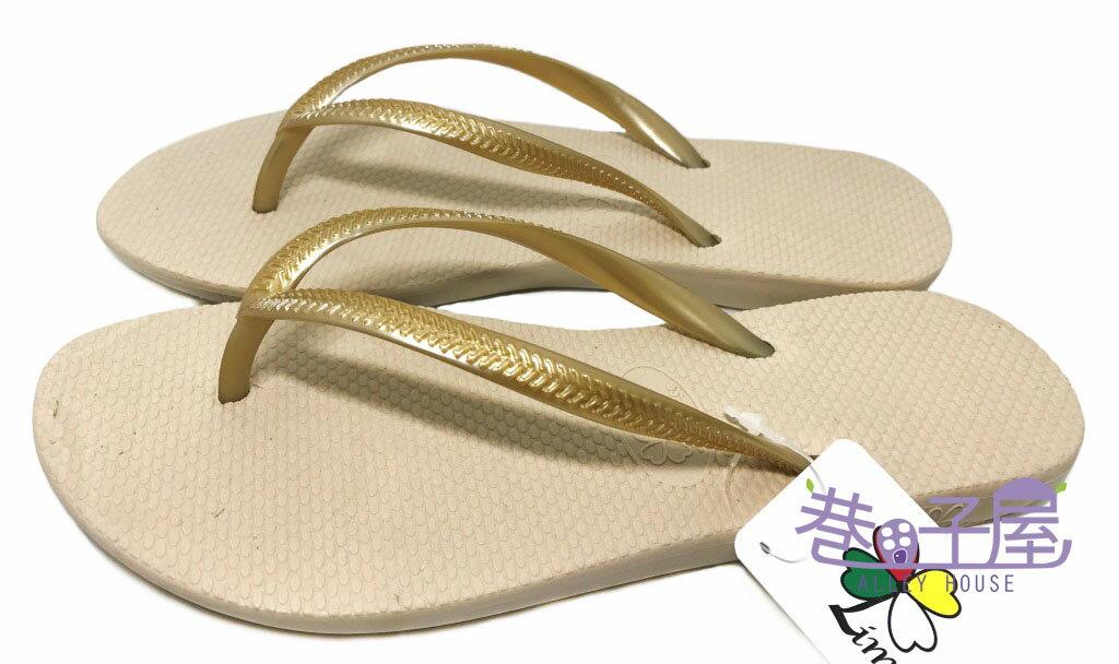 【巷子屋】Limitless利米緹司 女款質感素色夾腳拖鞋 [1709] 金 MIT台灣製造 超值價$198