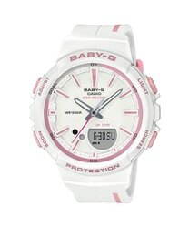 CASIO卡西歐 Baby-G 熱愛運動 計時碼表 計步功能 電子錶 女錶 白 淡粉紅 BGS-100RT-7ADR 40mm