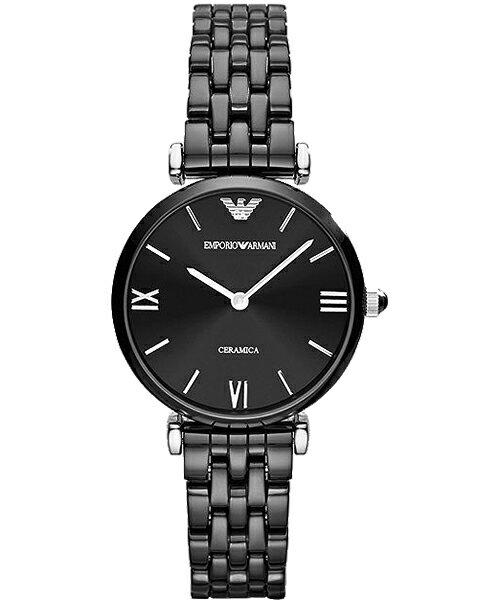 EMPORIO ARMANI/AR1487亮麗薄黑陶腕錶/貝殼面32mm