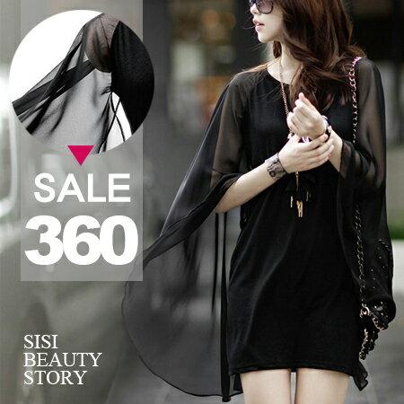 SISI【D6026】時尚飄逸圓領不規折襬斗蓬雪紡罩衫拼接中長棉質連身裙洋裝