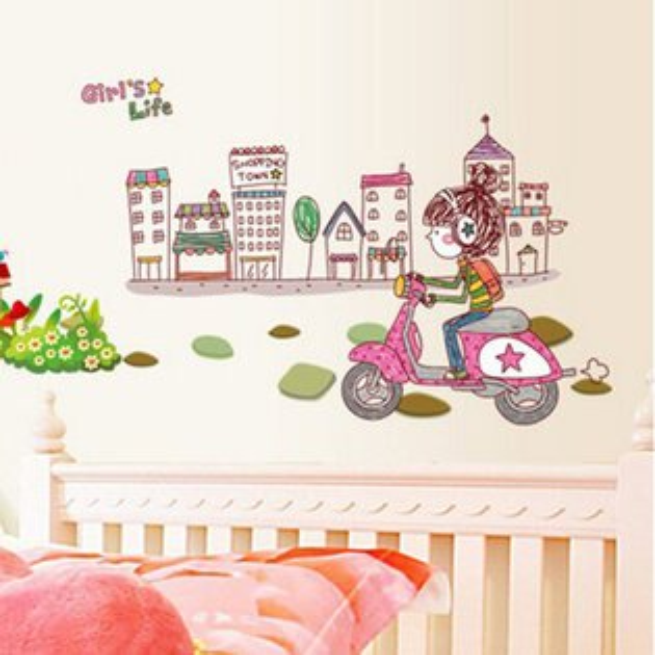 BO雜貨:BO雜貨【YV0663】DIY時尚裝飾組合可移動壁貼牆貼壁貼創意壁貼城市女生AY7122