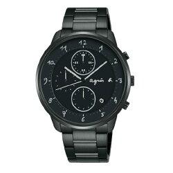 agnes b VD57-KY30SD(BM3018J1) 法式時尚計時腕錶/黑面40mm