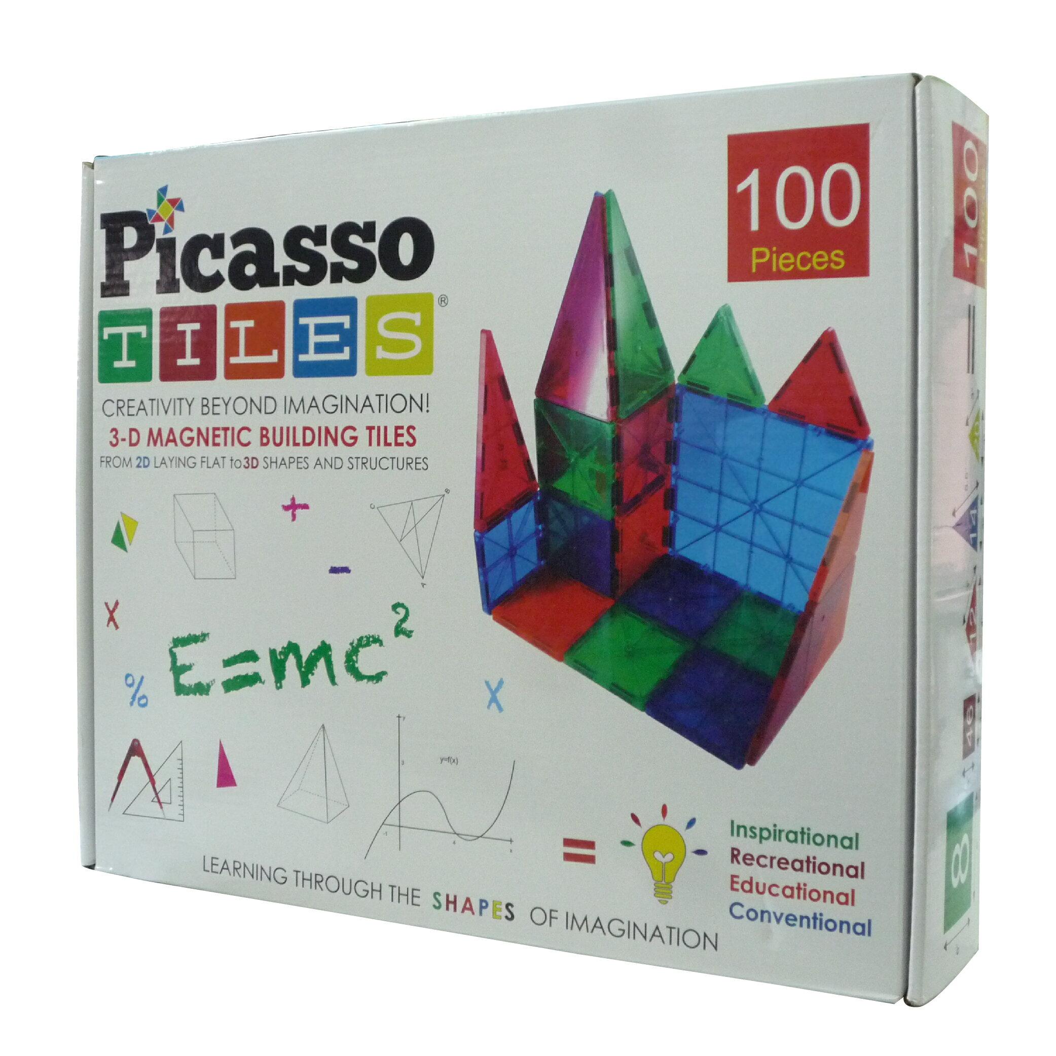 【美國 Picasso Tiles 畢卡索】磁力王-3D變形晶磚/立體益智磁性積木拼圖 100片 PT-100