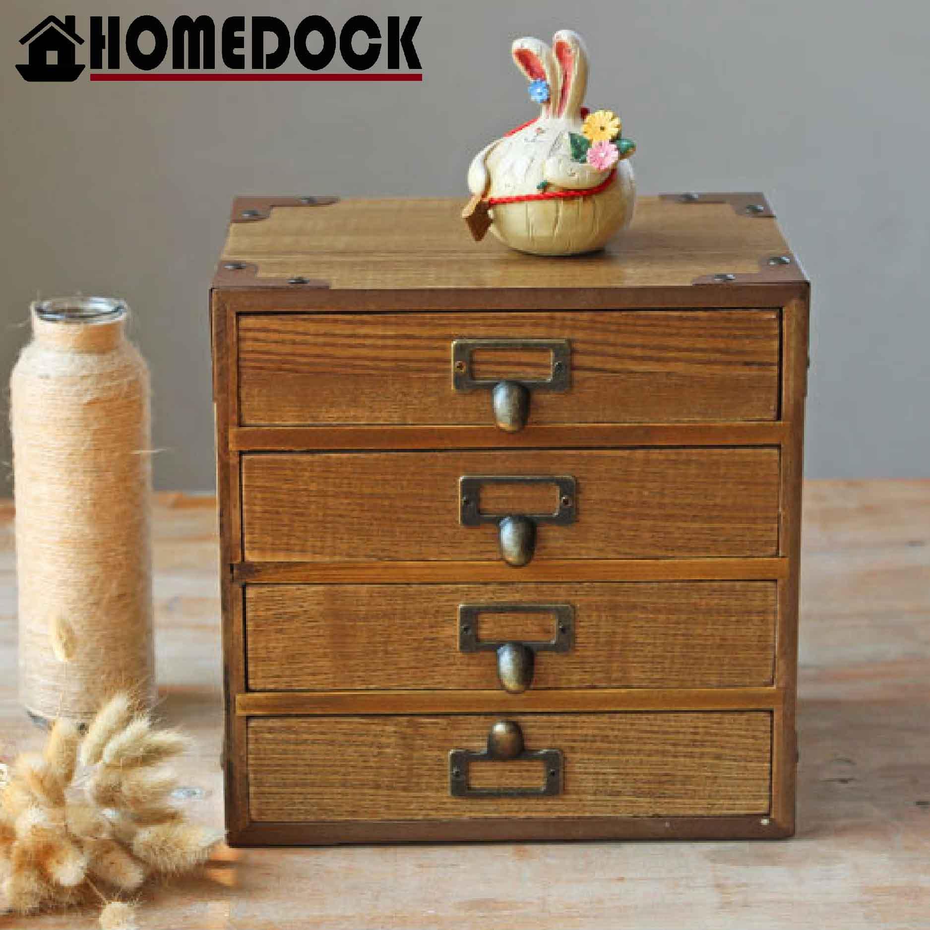 HOMEDOCK-原木質感復古四層收納櫃 zakka/三層櫃/木櫃/置物櫃/原木製/層格櫃/木盒