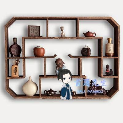 壁掛茶具架 茶壺茶具架子置物架紫砂壺展示架壁掛牆上客廳裝飾博古架實木中式
