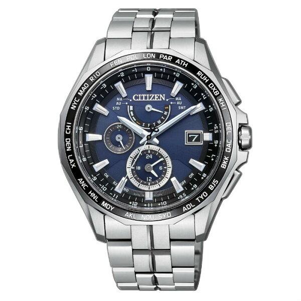CITIZEN星辰錶AT9090-53L旗艦電波光動能鈦金屬多功能時尚腕錶藍面43mm