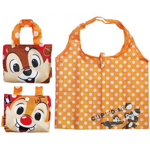 【日本進口正版】迪士尼 奇奇蒂蒂 摺疊 購物袋 環保袋 手提袋 防潑水 Disney - 040317