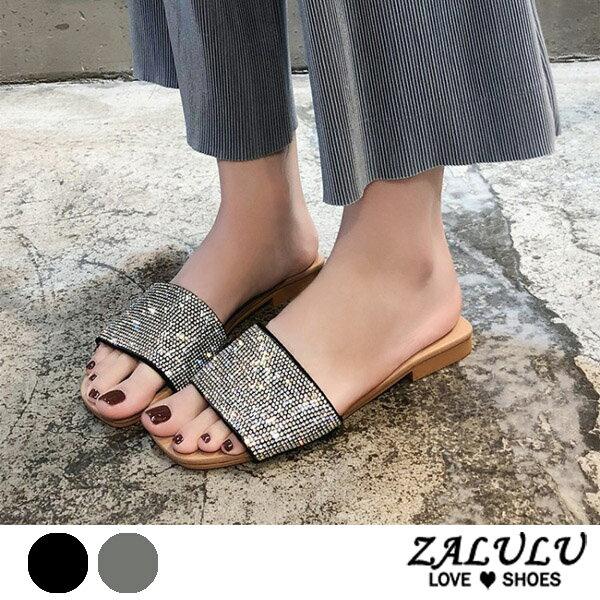 ZALULU愛鞋館7EE045預購時尚美感閃閃平底低跟拖鞋-黑銀-35-40