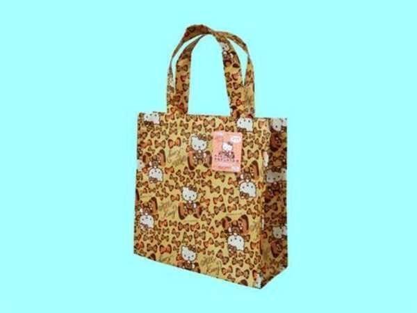 【真愛日本】47164100 環保方形手提袋-豹紋棕 Hello Kitty凱蒂貓 便當袋 日本帶回