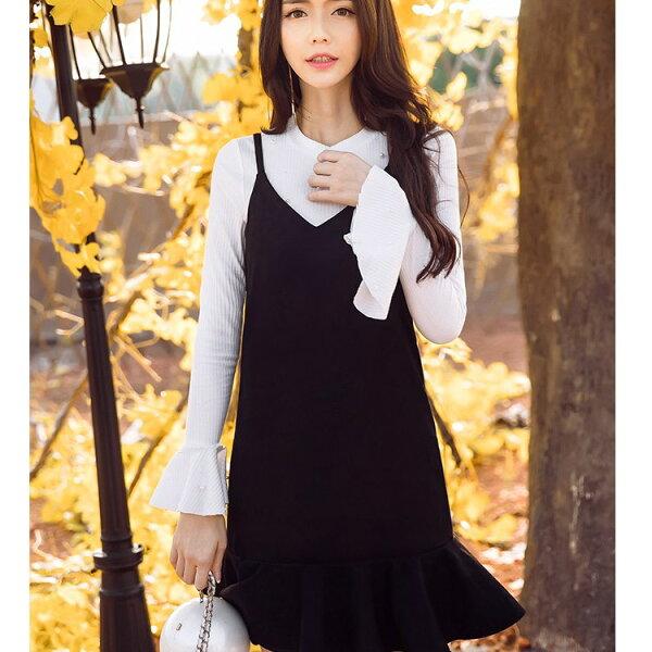 灰姑娘[98630-QF]時尚俏麗細肩帶荷葉裙襬背心裙~秋裝新款~