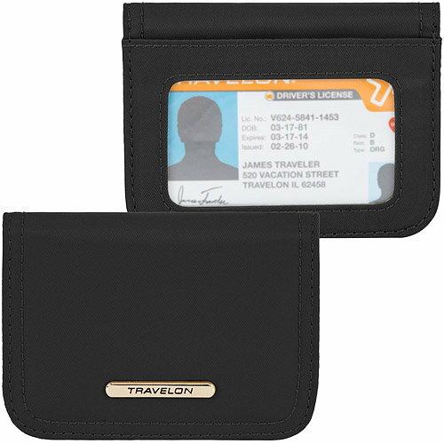 《TRAVELON》RFID扣式卡片夾(黑紫)