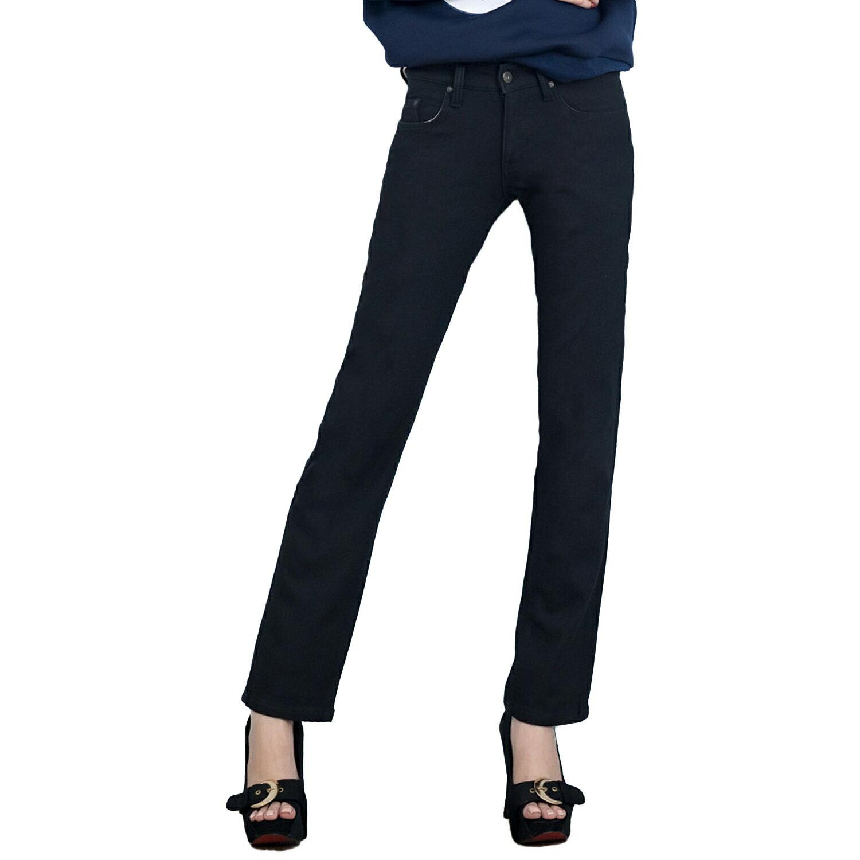 搖粒絨--銅釦素面搖粒絨完美版型低腰小直筒牛仔褲(黑XL-7L)-N94眼圈熊中大尺碼 1