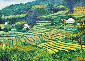 畫作磁鐵-坪林茶園【宋武雄】馬口磁鐵 / 身障畫家們透過畫作表達自己對台灣這片土地的愛 7.9cm*5.4cm*1.5cm