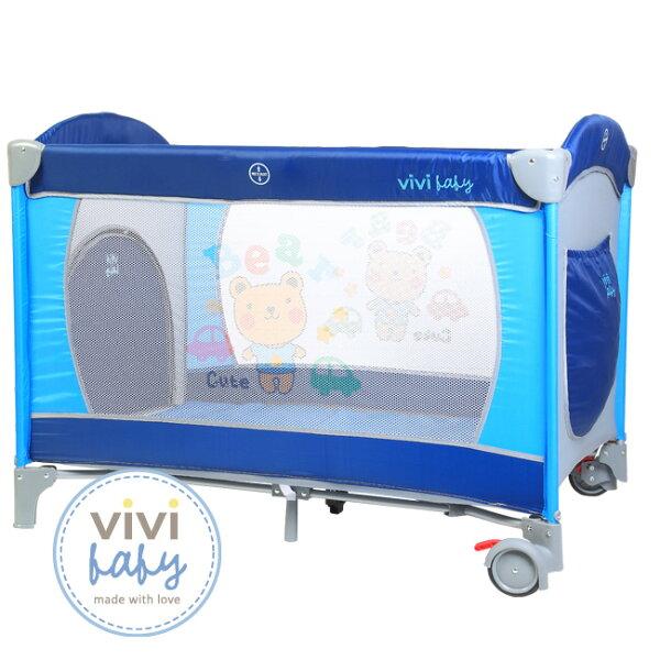 小奶娃婦幼用品:ViViBaby-托比熊雙層遊戲床(附蚊帳)