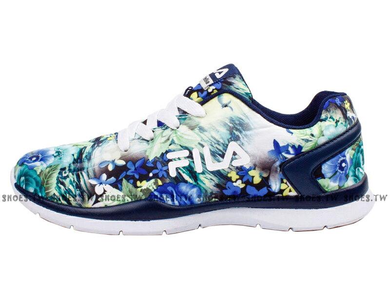《特價鞋款》 Shoestw【5J310R361】FILA 輕量訓練慢跑鞋 花卉 藍綠白 女款