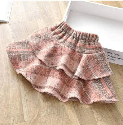 女童裙子2021秋冬新款韓版洋氣小女孩百摺公主裙兒童格子半身短裙 愛尚優品