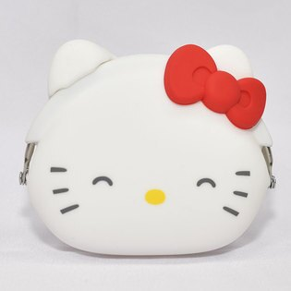 微笑HelloKitty矽膠零錢包紅蝴蝶結日本正版mimiPOCHI