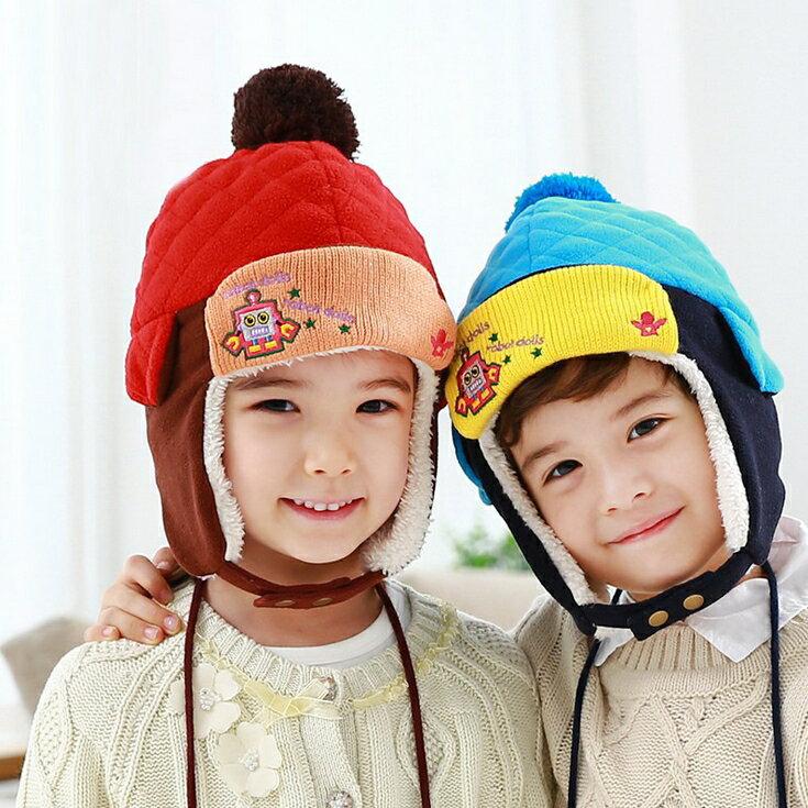 WallFree窩自在★秋冬保暖時尚可愛俏皮機器人毛球帶釦兒童毛絨雷鋒帽