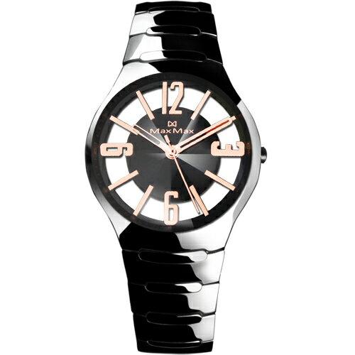 Max Max MAS5131~3晶鑽切割鏤空黑金陶瓷腕錶 黑面38mm