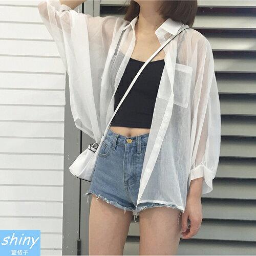 【V8209】shiny藍格子-韓范宿風.純色透視蝙蝠袖寬鬆薄款空調衫
