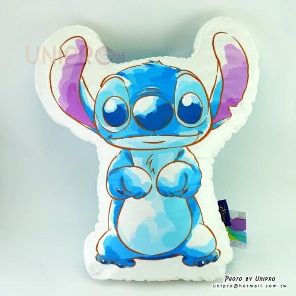 【UNIPRO】迪士尼水彩史迪奇STITCH超軟Q造型抱枕雙色靠枕正版授權星際寶貝