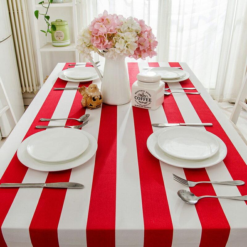 簡約現代條紋 布藝棉麻清新格子桌布 鞋櫃蓋布 桌巾/單售-紅色