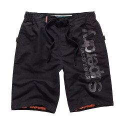 美國百分百【全新真品】Superdry 極度乾燥 海灘褲 短褲 泳褲 沙灘褲 衝浪褲 黑色 白色 G600