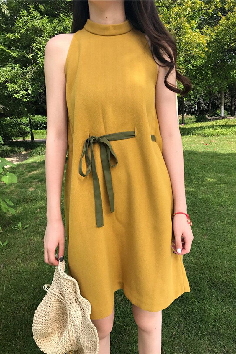 ~ 滿399元~小圓領 款繫帶收腰連身裙雪紡洋裝~現 預~ 感洋裝 夏日出遊一件出門超方便