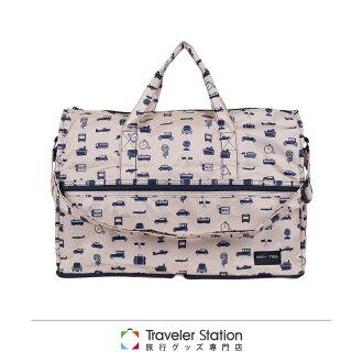 【日本暢銷 HAPI+TAS】 米色交通運輸 高級摺疊 防潑水 旅行袋 小 (可登機 旅行 搭配拉桿使用)