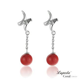 大東山珠寶 花好月圓全紅珊瑚純銀耳環