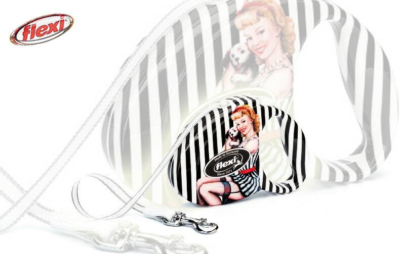 ★ 汪咪堡寵物★德國《Flexi飛萊希-時尚系列-復古女郎》多功能伸縮狗牽繩-S號