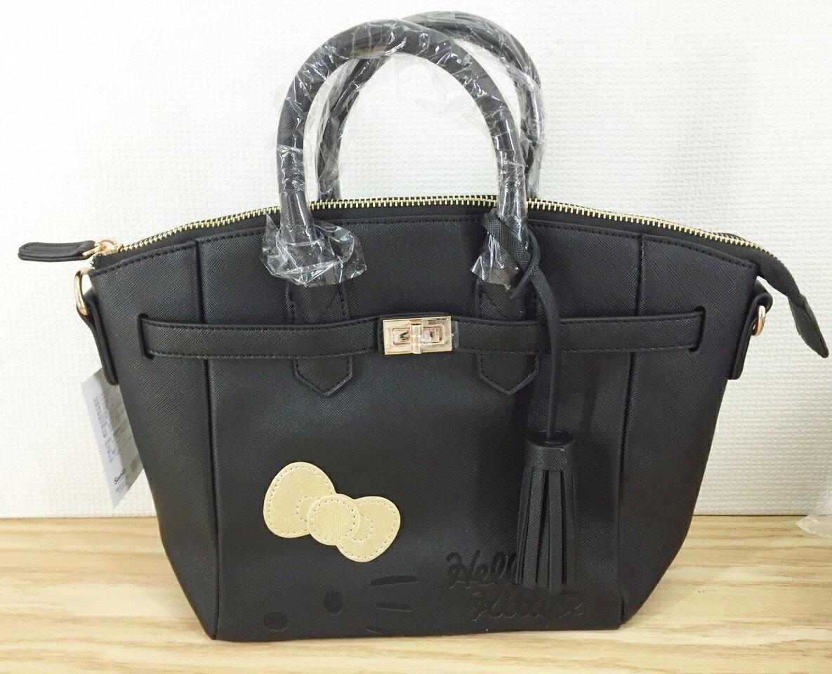 【真愛日本】16012300008 柏金包-立體蝴蝶結黑 KITTY 凱蒂貓 三麗鷗 包包 零錢包 收納 小錢包