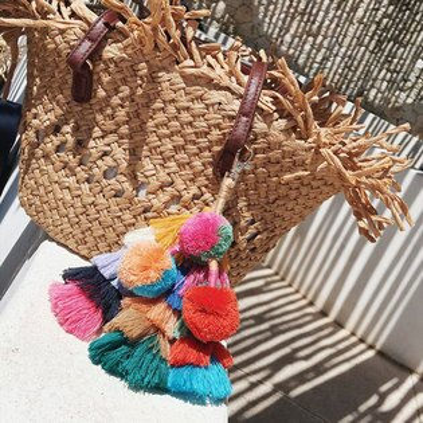 印地安草編包手工掛飾彩色毛球流蘇吊飾藤編包籐編包民族風鑰匙圈度假海邊ANNAS.