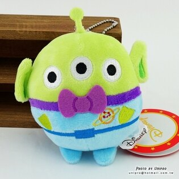 【UNIPRO】迪士尼三眼怪Alien11公分圓球珠鍊吊飾絨毛玩偶娃娃玩具總動員