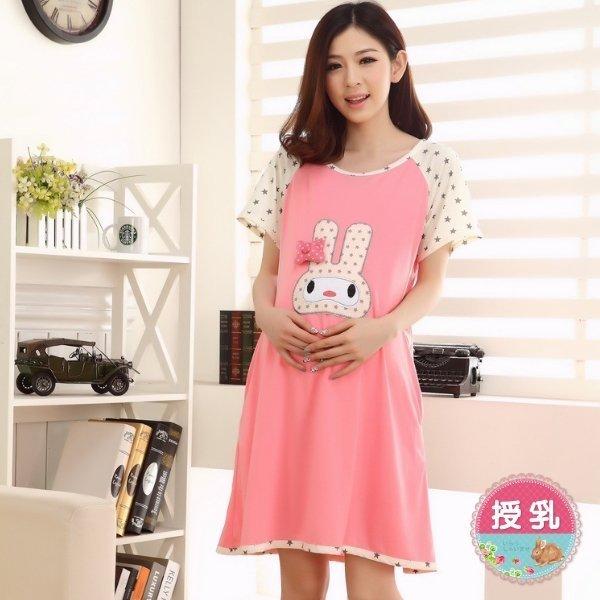 *漂亮小媽咪*粉紅星兔短袖孕婦睡衣孕婦裝哺乳裙哺乳衣哺乳裝睡裙BFC336FA