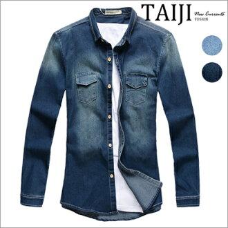 長袖襯衫‧胸前雙口袋刷白立領牛仔長袖襯衫‧二色【ND92019】-TAIJI