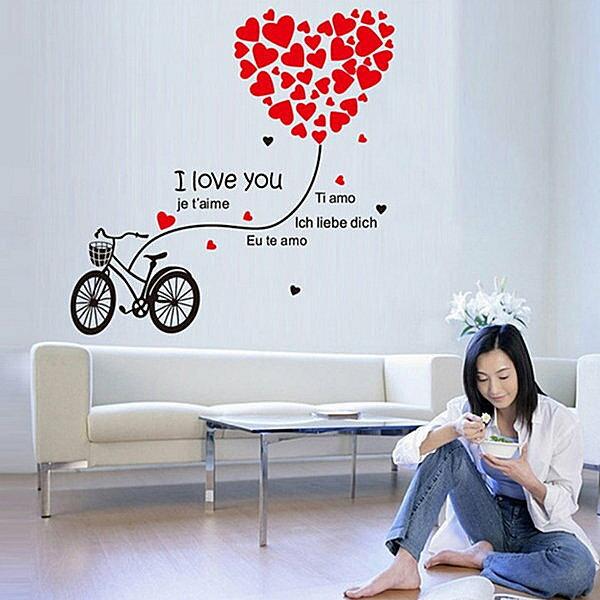 BO雜貨【YV4206】創意可移動壁貼 牆貼 背景貼 時尚組合壁貼 愛心自行車