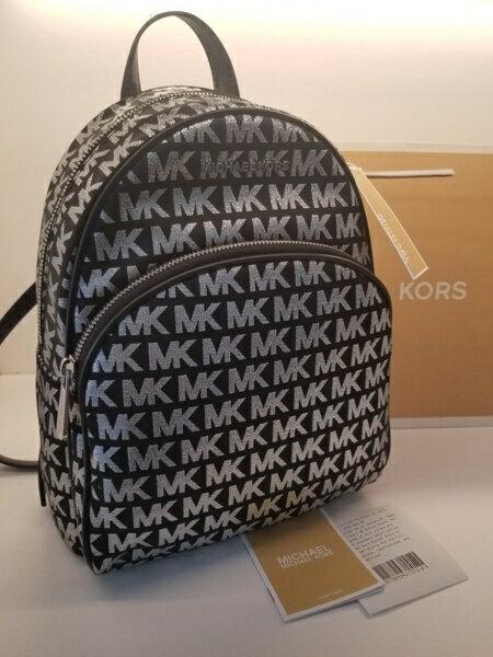 美國Michael Kors黑色 / 銀色MK LOGO刺繡布面設計 後背包 限量款 5