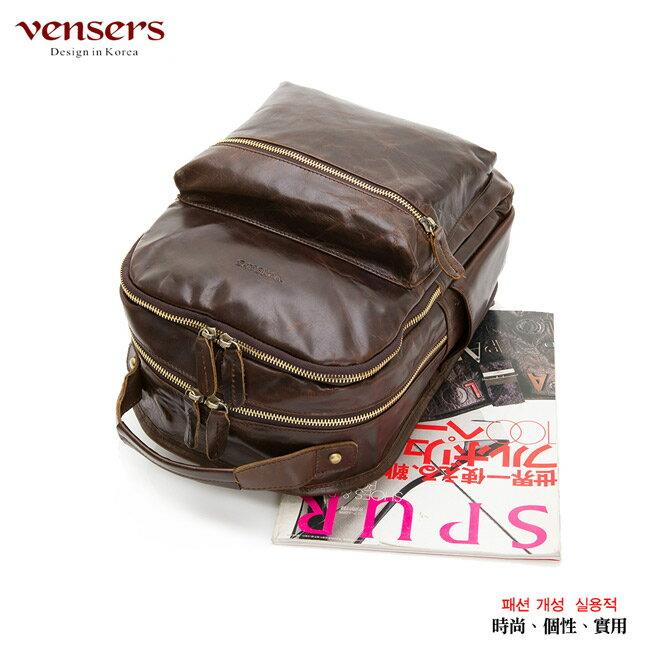 【Vensers】小牛皮潮流個性包~後背包(NE054602咖啡) 2