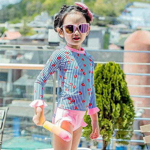 兒童泳裝可愛水果條紋兩件套七分袖兒童泳裝【SFC1786】BOBI1214