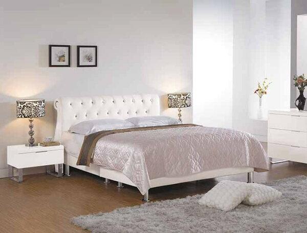 【尚品傢俱】CM-155-7傑斯延5尺雙人床(白色皮,另有六尺)