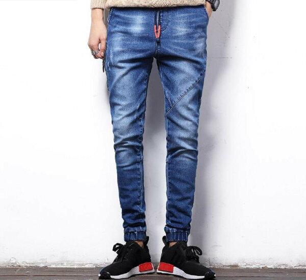 FINDSENSE品牌時尚潮流日系修身彈力男鬆緊帶側拉鏈九分褲小腳褲牛仔褲直筒褲