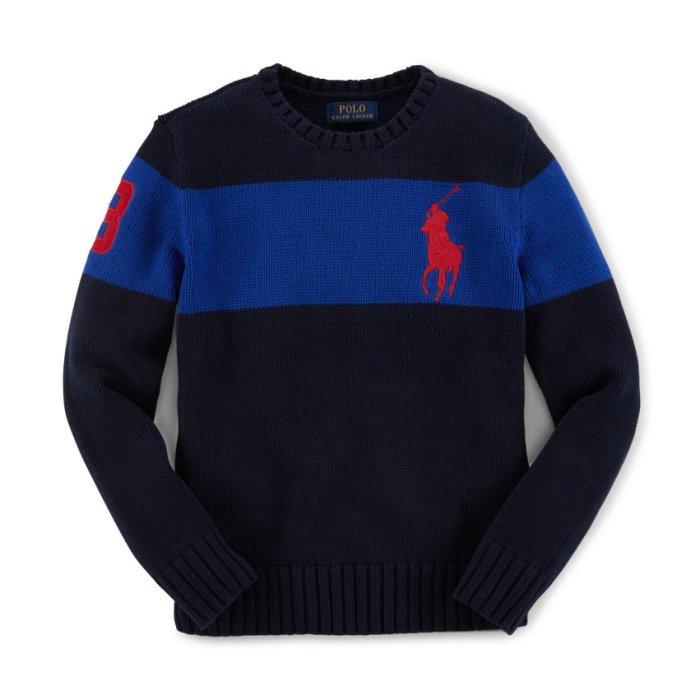 美國百分百【Ralph Lauren】針織衫 RL polo 大馬 毛衣 線衫 厚款 撞色 深藍 XS號美國青年版 F940
